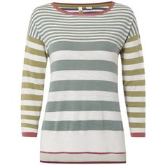 White Stuff Artists Jumper, Basil Green (4.485 RUB) ❤ liked on Polyvore featuring tops, sweaters, side slit sweater, white 3/4 sleeve crop top, white top, round neck sweater and 3/4 length sleeve tops