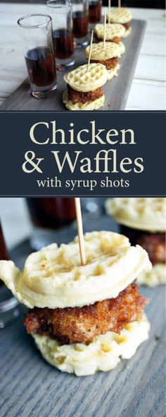 Mini Chicken and Waffles with Syrup Shots