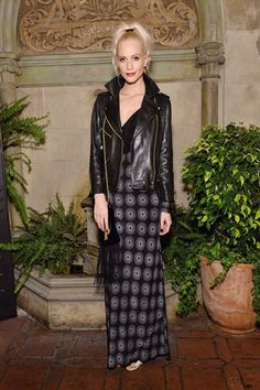 Poppy Delevingne wears DVF SS17 to a dinner at Chateau Marmont Los Angeles celebrating DVF Chief Creative Officer Jonathan Saunders on November 11, 2016.