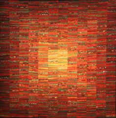 """""""October Sun"""" by Ann Brauer from Shelburne Falls, MA. See more of her gorgeous abstract landscape quilts at: The Quilts of Ann Brauer . Monochromatic Quilt, Orange Quilt, Green Quilt, Quilt Modernen, Landscape Quilts, Abstract Landscape, String Quilts, Textile Fiber Art, Contemporary Quilts"""