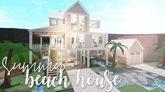ROBLOX | Bloxburg: Summer Beach House 156k - YouTube Two Story House Design, Unique House Design, Modern Family House, Family House Plans, Tiny House Bedroom, Bedroom House Plans, Home Building Design, Building A House, Small Beach Houses