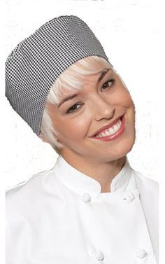 59a62998db7 The Houndstooth Chef Beanie is a nice alternative to the traditional chef  toque.