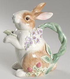Fitz & Floyd Botanical Bunny TeaPot♥•♥•♥