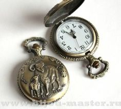 Часы-основа карманные кварцевые открывающиеся под античную латунь, с барашками на крышке, габарит 55х45х15мм
