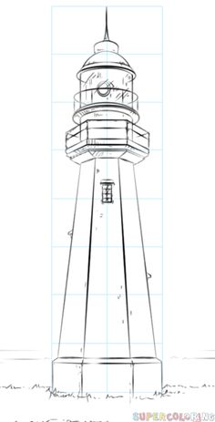How to draw a lighthouse step by step. Drawing tutorials for kids and beginners.