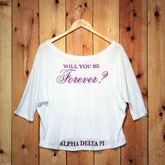 The back of a Alpha Delta Pi ENSYD designed off the shoulder t-shirt #ENSYD #sorority #alphadeltapi