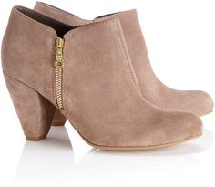 Suede booties with zipper detailing. Gorgeous for fall.