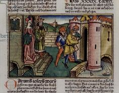 Genesis 39 19-23 Innocent Joseph is jailed, from the 'Nuremberg Bible (Biblia Sacra Germanaica)' (coloured woodcut), 1483