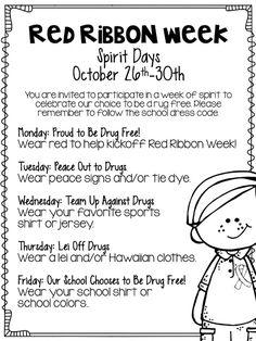 Red Ribbon Week FREEBIES!                                                                                                                                                      More Spirit Week Themes, Spirit Weeks, Spirit Day Ideas, Elementary School Counseling, School Counselor, Pta School, School Events, Elementary Schools, School Week