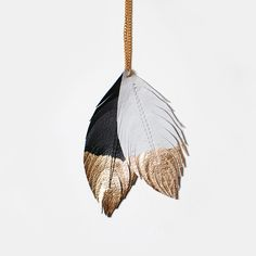 Feather Pendant Black White