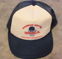 VTG NCAA Midwest Regional Basketball Mesh Snapback Hat Cap Blue Kansas City 1986 #Snapback