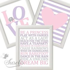 Set of 3 Elephant LOVE Heart Baby Girl Rules Lilac Pink by Suselis