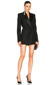 Shop for Saint Laurent Tux Romper in Black at FWRD. Free 2 day shipping and returns. Expensive Clothes, Blazer Dress, Casual Street Style, Festival Outfits, Daily Fashion, Fashion Dresses, Ootd Fashion, Street Fashion, Ideias Fashion
