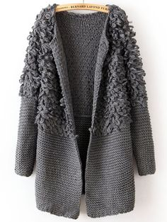 Grey Long Sleeve Contrast Shaggy Sweater, from http://www.shepiner.com/       ♪ ♪ ... #:O :O inspiration #crochet  #knit #diy GB  http://www.pinterest.com/gigibrazil/boards/