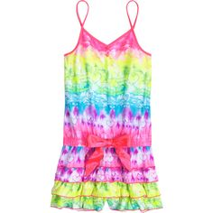 Tie Dye Pajama Romper nightgowns rompers ($29) ❤ liked on Polyvore