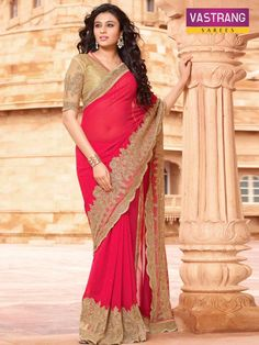 Lovely red bember and border embroidered georgette saree