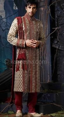 Beige Jacquard Fabric Embroidered Sherwani