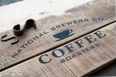 Coffee stencil / Reclaimed wood old sign coffee station / FunkyJunkInteriors.net