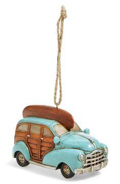 Turquoise coastal Car Ornament