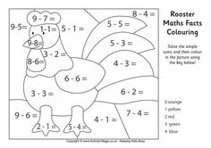 Rooster maths facts colouring page