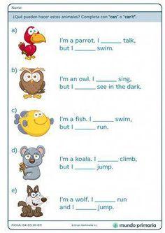 """Can"" y ""Can't"" - Mundo Primaria English Primary School, English Grammar For Kids, English Phonics, Learning English For Kids, Teaching English Grammar, English Worksheets For Kids, English Lessons For Kids, Kids English, English Activities"