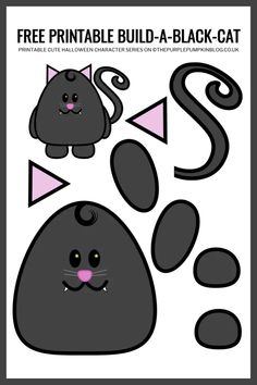 Use this free printable paper cat template to build-a-cat for Halloween! This fun craft helps children improve their cutting and pasting skills. Moldes Halloween, Halloween Paper Crafts, Cat Crafts, Halloween Activities, Halloween Kids, Printable Crafts, Free Printables, Printable Paper, Templates Printable Free