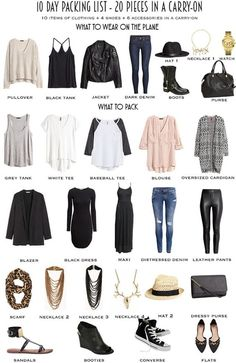 Packing List - 2 weeks in a carryon: