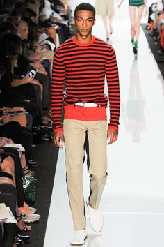 Parti-colored hoses was popular in the late middle ages - here a modern take on it. The fashionable Color-blocking trend. Michael Kors S2013