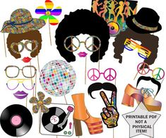 Party Photo booth props: DISCO PARTY PROPS Hippie Party Disco Fever Disco ball Afro Wig Printable PDF Photo Booth theme This listing is for a printable photo prop set. 27 fun props included and you can print them as much as you want. Disco Theme Parties, Disco Birthday Party, 70th Birthday Parties, 1970s Party Theme, 60s Party Themes, 60s Theme, Tea Parties, Hippie Party, Photos Booth