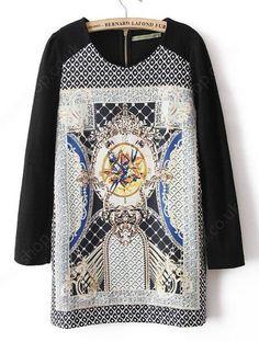 Black Long Sleeve Floral Back Zipper Dress