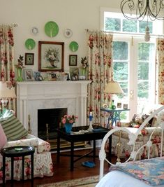 Love the crocheted trim under the seat cushions.  Definitely English Country…