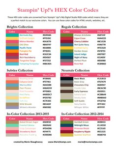 HEX Color Codes Stampin Up 2013-2014.pdf - Google Диск