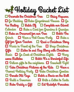 Holiday Bucket List. Lots of fun ideas!