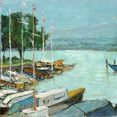Genève le lac Painting, Art, Lake Geneva, Switzerland, Impressionism, Art Background, Painting Art, Kunst, Paintings
