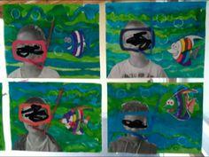 Activité à l'encre, avec enfant en photo, masque et tuba