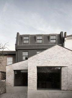 Black Painted Brick Homes Adds Contrasting Pale Brick Extension To Black Painted House Brick Extension, House Extension Design, Extension Designs, Extension Ideas, Brick Cladding, Brick Facade, Brick Exteriors, Brickwork, Victorian London