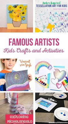Famous Artists Kids Crafts and Activities | Teach kids about famous artists through fun activities, easy crafts and art projects. #easycrafts #artprojects
