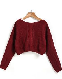 Red Long Sleeve Cable Knit Crop Sweater