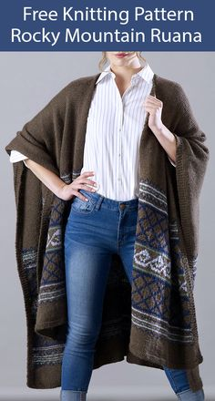 Ruana Knitting Patterns- In the Loop Knitting Poncho Knitting Patterns, Knit Patterns, Free Knitting, Knitted Afghans, Knitted Poncho, Knit Wrap Pattern, Free Pattern, Ruana Wrap, Crochet Yarn