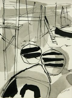 Boats by Richard Tuff  Ink on Paper