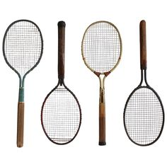1920s Metal Tennis Rackets by Dayton | From a unique collection of antique and modern sports at https://www.1stdibs.com/furniture/more-furniture-collectibles/sports/