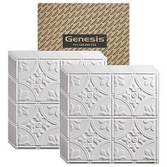 Genesis  Antique White 2x2 Ceiling Tiles 3 mm thick carton of 12  These 2x2 Drop Ceiling Tiles are Water Proof and Wont Break  Fast and Easy Installation and a Great Alternative to Acoustical Ceiling Tiles  25 Year Warranty 2 x 2 Tile ** Want to know more, click on the image. This Amazon pins is an affiliate link to Amazon.