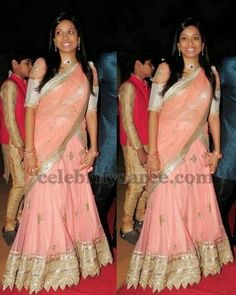 Peach Color Lace Half Saree