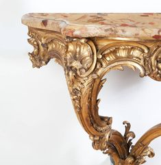 Finely Carved, Mid-19th Century Louis XV Style Giltwood Rococo Console Table | From a unique collection of antique and modern console tables at https://www.1stdibs.com/furniture/tables/console-tables/