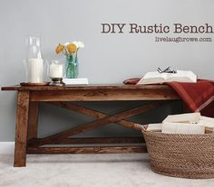 DIY {Rustic} Wood Bench for under living room window
