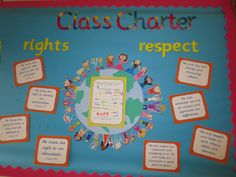 We have been working together to create our Class Charter. This is a set of values for our classroom which we have all agreed to. Our charter is based on Rights and Respect. We chose 4 Articles Classroom Displays Ks2, Classroom Organisation Primary, Year 6 Classroom, Ks2 Classroom, Primary Classroom, Primary School, Classroom Ideas, Our Class Display, Class Displays