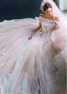 Wedding Dresses Ball Gown, Fascinating Tulle Off-the-shoulder Neckline Ball Gown Wedding Dress With Beaded Lace Appliques DressilyMe Dresses Short, Ball Dresses, Ball Gowns, Flower Girl Dresses, Prom Dresses, Blush Pink Wedding Dress, Stunning Wedding Dresses, Designer Wedding Dresses, Bridal Dresses Online