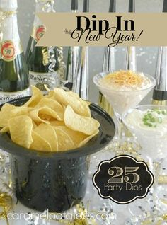 in the New Year! Party Dips} Chips and Dips are always a great way to celebrate - 25 great recipes!Chips and Dips are always a great way to celebrate - 25 great recipes! Party Dips, Party Dip Recipes, Party Snacks, Holiday Recipes, Great Recipes, Nye Recipes, Picnic Recipes, New Years Eve Day, New Years Eve Food