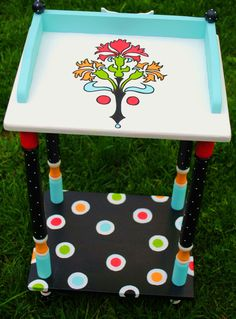 Painted Side Table, Side Table, End Table, Dorm Room Furniture, Plant Stand, Personalized Furniture, Furniture,Children's Furniture.