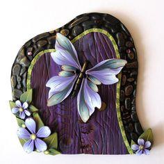 Butterfly Fairy Door Pixie Portal by Claybykim on Etsy, $20.00
